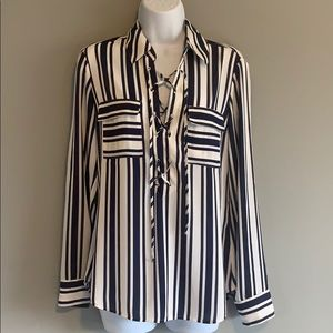 NWOT - Express : White & Blue Striped Lace Up Top